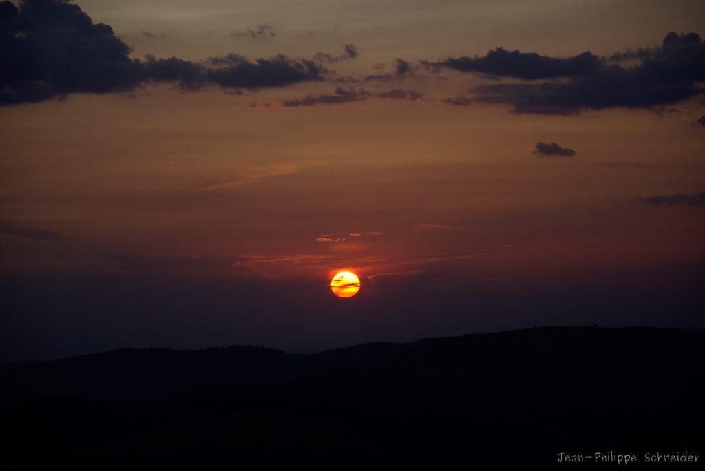 Coucher de soleil du haut du Grand Ballon d'Alsace